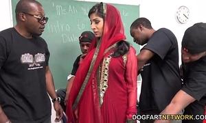 Nadia ali learns to handle a bunch of dark jocks