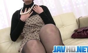 Saoris busy with her sex tool on her milf cum-hole