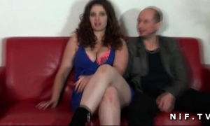 Chubby french dilettante dark brown hard drilled in front of her cuckhold husband