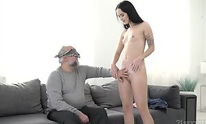 Dark-haired vixen with small cans pounded by an older guy